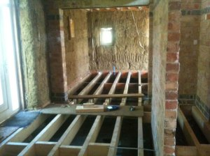 Downstairs joists and noggins in what will be the hall and kitchen